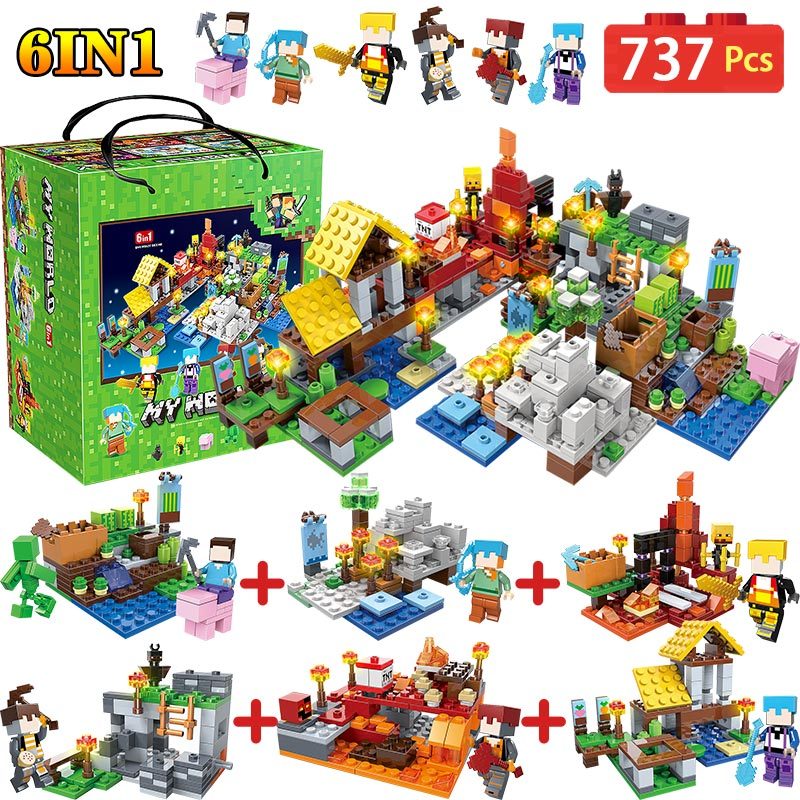 6 IN 1 My World Farm Cottage Building Blocks Compatible LegoINGLY Minecraft Village Defend Homes Figures DIY Toy For Children 400 pcs micro my world building blocks diy nether bricks blocks enlightentoys for kids compatible legoingly minecraft village