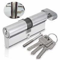 MTSPACE 8.9*2.9cm SilverTone Cylinder Hardware Indoor Aluminum Home Security Gate Door Lock Code With 3 Keys Lock Cylinder