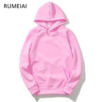 RUMEIAI Autumn Street Wear Men Woman Hip Hop Black Pink Hoodie Fashion Brand Clothing Skate Sweatshirts