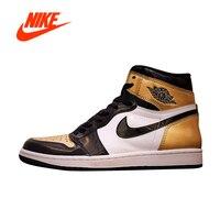 Official Original Nike Air Jordan1 Gold Toe AJ1 Men's basketball shoes Outdoor sports AQ7474 001