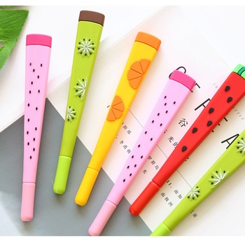 4 pcs Cartoon fruits gel pen for writing 0.5mm ballpoint Black color ink pens Watermelon Stationery Office School supplies A6040 24 pcs lot silicone snail gel pens 0 5mm black ink pen cartoon stationery office school supplies caneta escolar