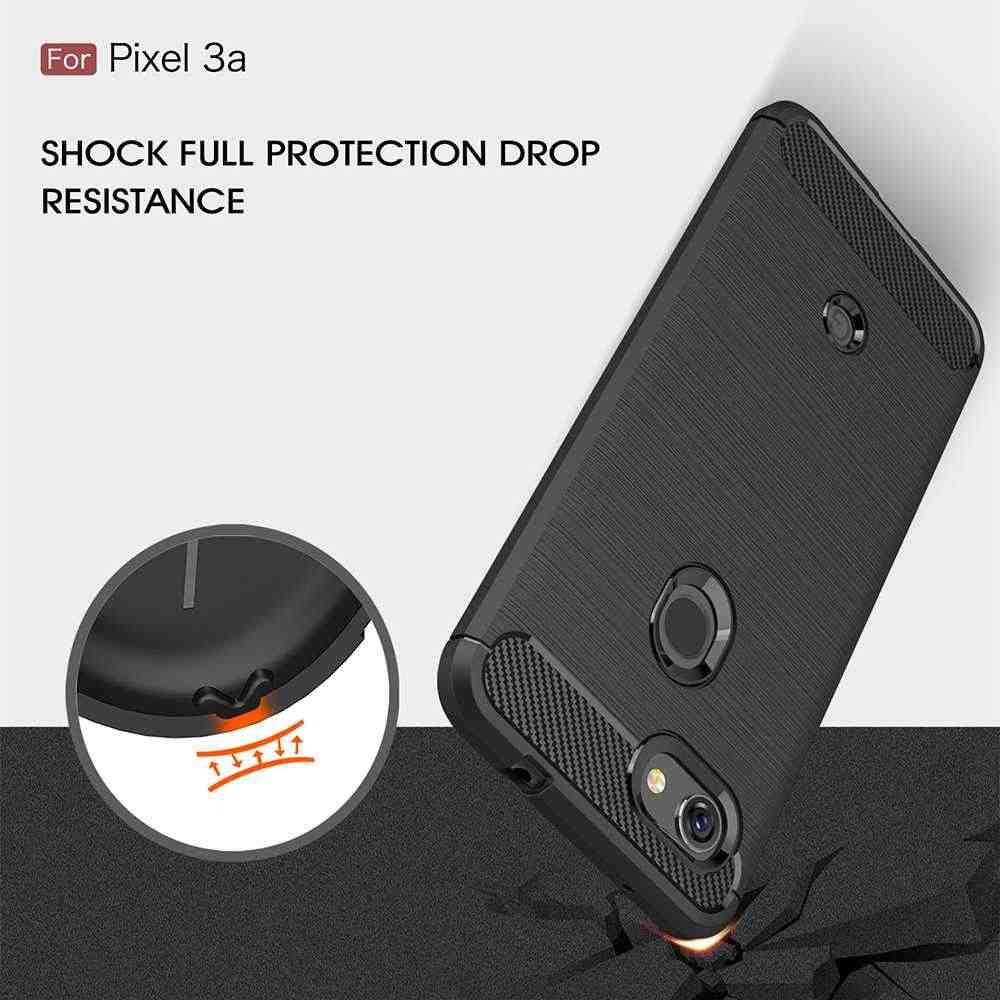 Carbon Fiber Shock Proof Soft TPU Case Voor Google Pixel 3a 3A Case Voor Google Pixel 3a XL Mobiele Telefoon case Cover