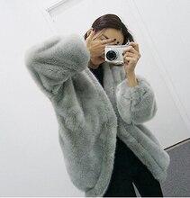 2015 Winter New Style Black/Grey Women Fur Coat Batwing Sleeve Elegant Soft Fur Jacket Women Coat Faux Fur Coat