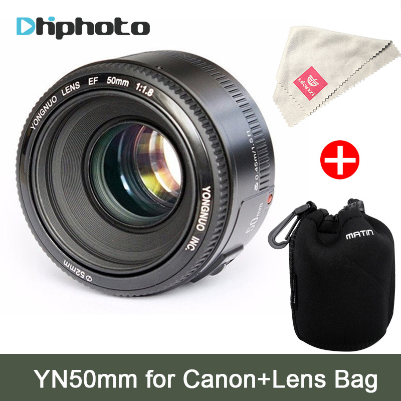 YONGNUO YN50mm Lens fixed focus EF 50mm F1.8 AF/MF lense Large Aperture Auto Focus Lens For Canon EOS 60D 70D 700D DSLR Camera yongnuo yn100mm f2 af mf medium telephoto prime lens fixed focal for canon eos rebel camera ef mounting port 600d 60d 80d 6d5d3
