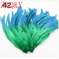 Z & Q & Y Natural 100 root 35 40CM (14 16 inches) Lake blue plus green cock tail feathers DIY masquerade Feather decoration hat