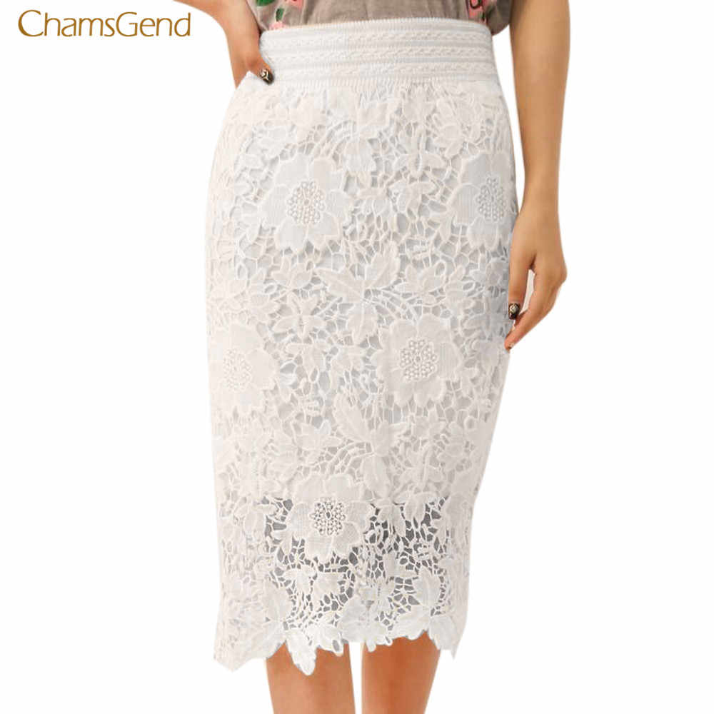 1acdef2828 CHAMSGEND 2018 New Summer Skirt Lace Bodycon Trumpet High Waist Mermaid  Sexy Skirt Solid White Mini