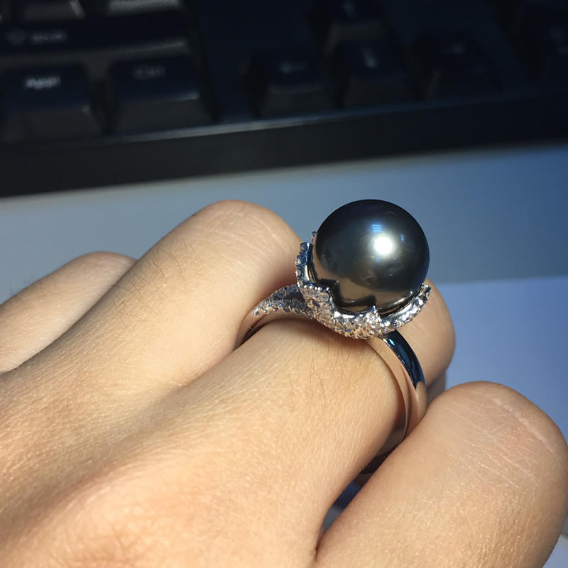 carats and gold unusual pearl black review ring rings engagement tahitian pearls silver