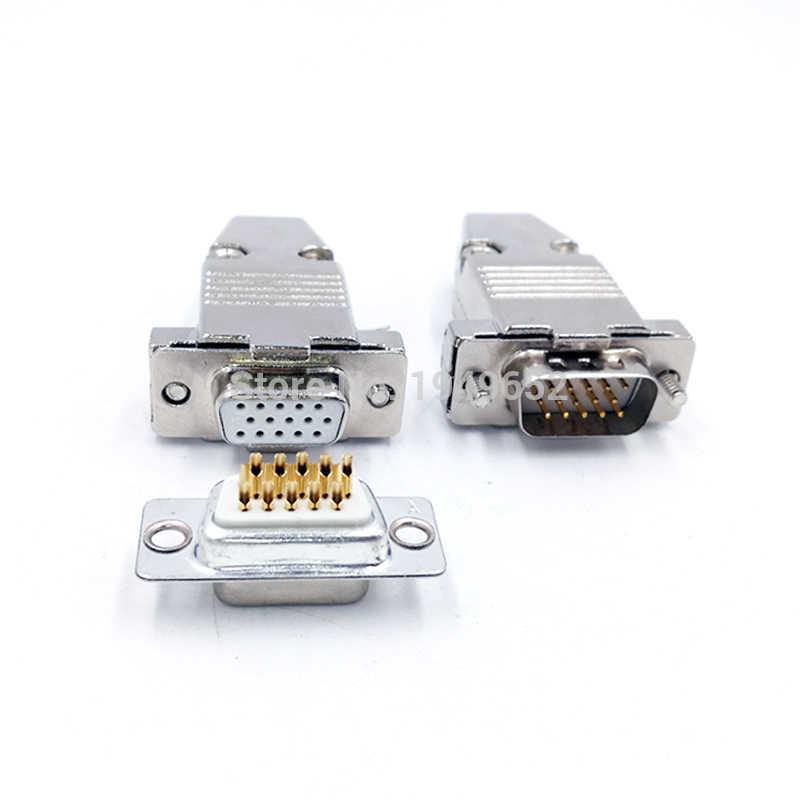 DB15 VGA Cắm D loại kết nối kim loại trường hợp vàng mạ đồng thau contactor 3 hàng 15pin cổng ổ cắm nữ Nam adapter DP15
