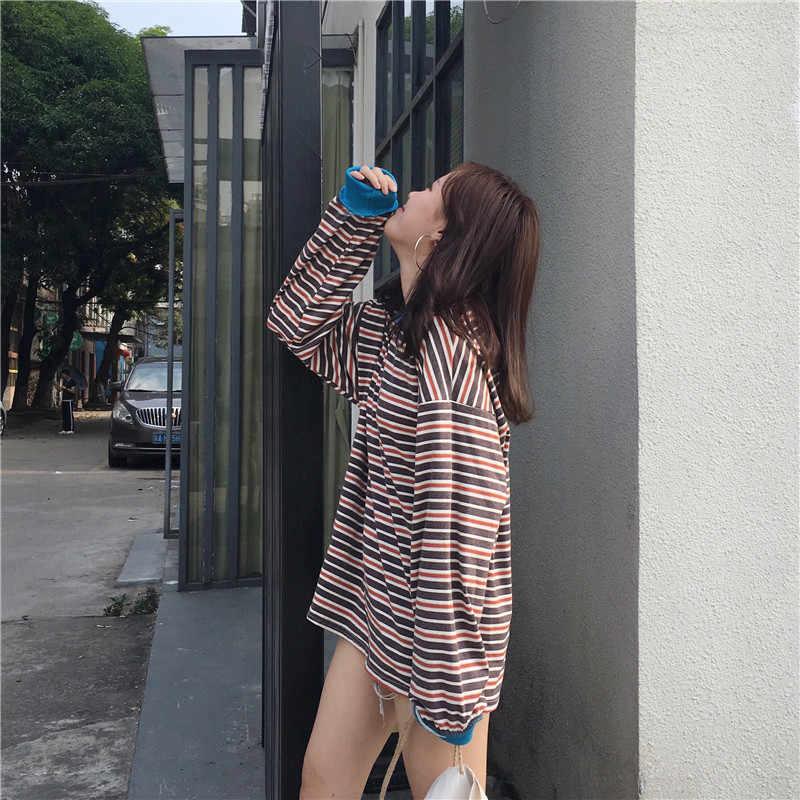 2019 Chic Harajuku Стиль Для женщин, в полоску, с длинным рукавом, толстовки с капюшоном для девочек; корейский свободные свитера женские, повседневные, Свободные Толстовка с круглым вырезом в повседневном стиле