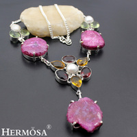HERMOSA Jewelry Unique SMOOTHLY POLISHED DRUSY RIVER PEARL Morganite Garnet 925 Sterling Silver Women Necklace 19 inches HM148