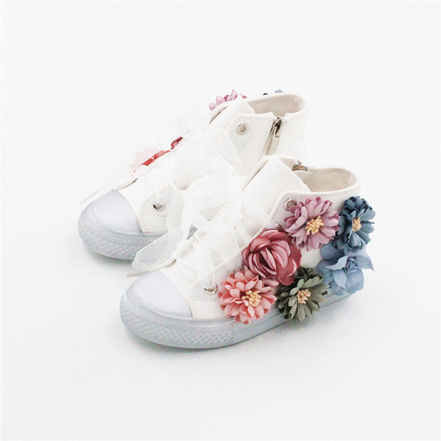 Autumn new fashion girls flower shoes high top canvas shoes for autumn new fashion girls flower shoes high top canvas shoes for toddler girls white dance shoes mightylinksfo