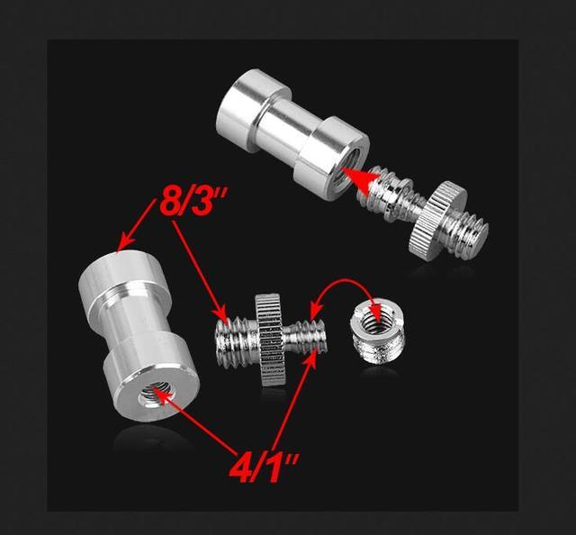 2 ensemble filetage lumière support de montage Flash broche adaptateur caméra vis 1/4