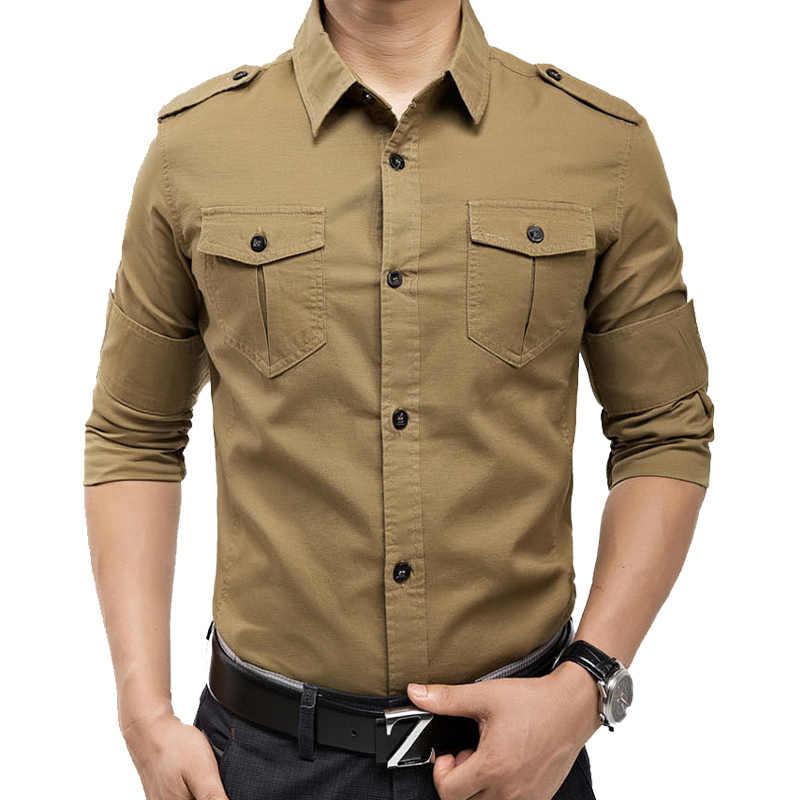 Nouveautés militaire vintage slim fit à manches longues chemise causaul chemises jaune armée vert M-XXXL A6620