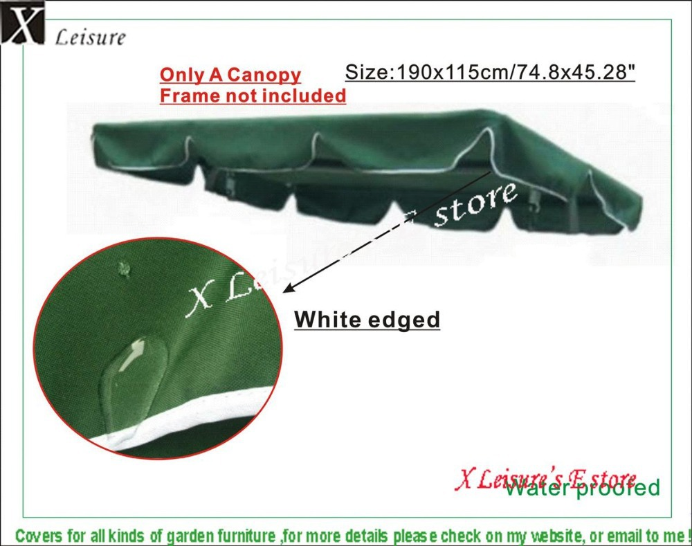 Sunroof parts for 3 Seater rocking chair.190x115cm/74.8x45.28,Dark green color,water proofed polyester fabric canopy
