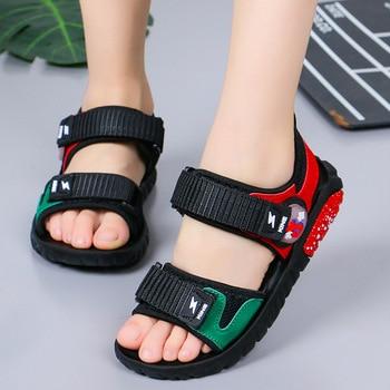 2019 Marka Yaz plaj sandaletleri Çocuk Erkek plaj sandaletleri Yumuşak Deri Rahat spor ayakkabılar Büyük Erkek Genç Euro Boyutu 27 37 Sandaletler    -
