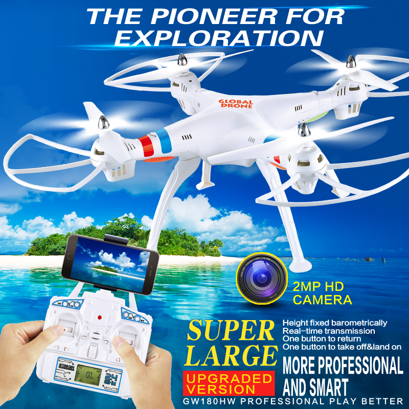 2016 new Professional RC drone GW180 50cm large WIFI FPV drone 2.4G 6Axis RC Helicopter Quadcopt with 2.0 MP hd camera VS x102 professional wifi fpv rc drone xx12 with