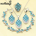 XUTAAYI Sparkling 925 Sterling Silver Women Jewelry Set Blue Created Topaz Four Piece Ring Necklace Pendant Bracelet Earring