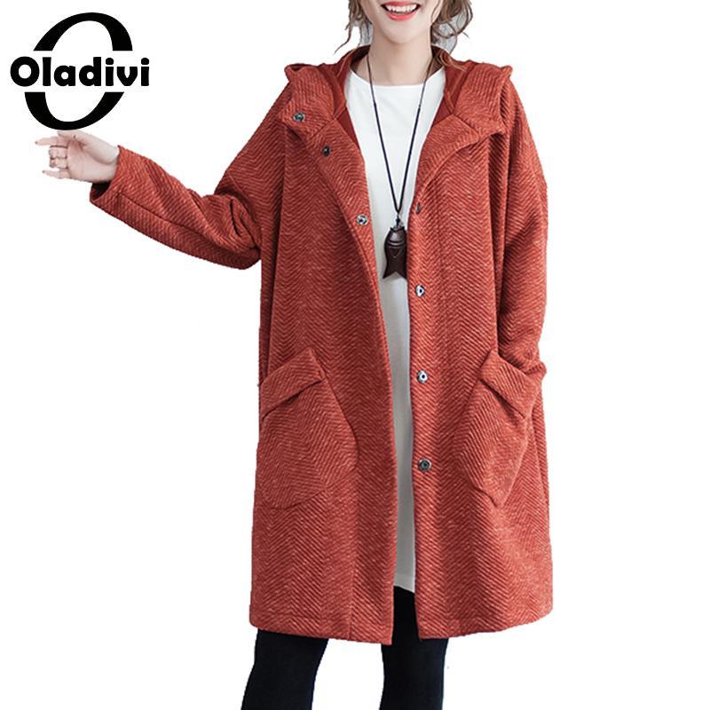 Oladivi плюс Размеры женская одежда 2018 осень-зима куртка с капюшоном пальто женские длинные пальто Модные ботфорты Размеры d верхняя 6XL