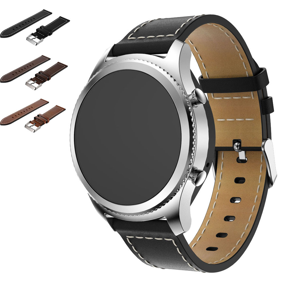 Hot sale Wrist bands Black Replacement Leather Watch Band Bracelet reloj Strap For Samsung Gear S3 Frontier Classic 2018