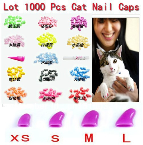 Free Shipping 14 Colors  New Lots1000pcs Soft Cat Pet Nail Caps Claws Paws Off Control + 50 Adhesive Glue ZX003B Size XS S M L