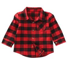newborn Unisex Clothes Autumn Top Baby boy Shirt CHild Long Sleeve Plaid Shirts Kid Girl Cotton Blouse baby girl Clothes(China)