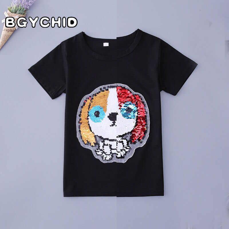 416c5c1a ... Boys T-Shirts Cotton Kids T-Shirt With Sequin Reversible Sequin Girls T  Shirt ...