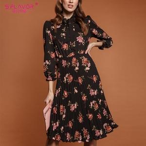 Image 5 - S.FLAVOR 핑크 플라워 프린트 a 라인 드레스 가을 우아한 새로운 패션 파티 Vestidos 겨울 캐주얼 Pleated 미디 드레스 여성을위한