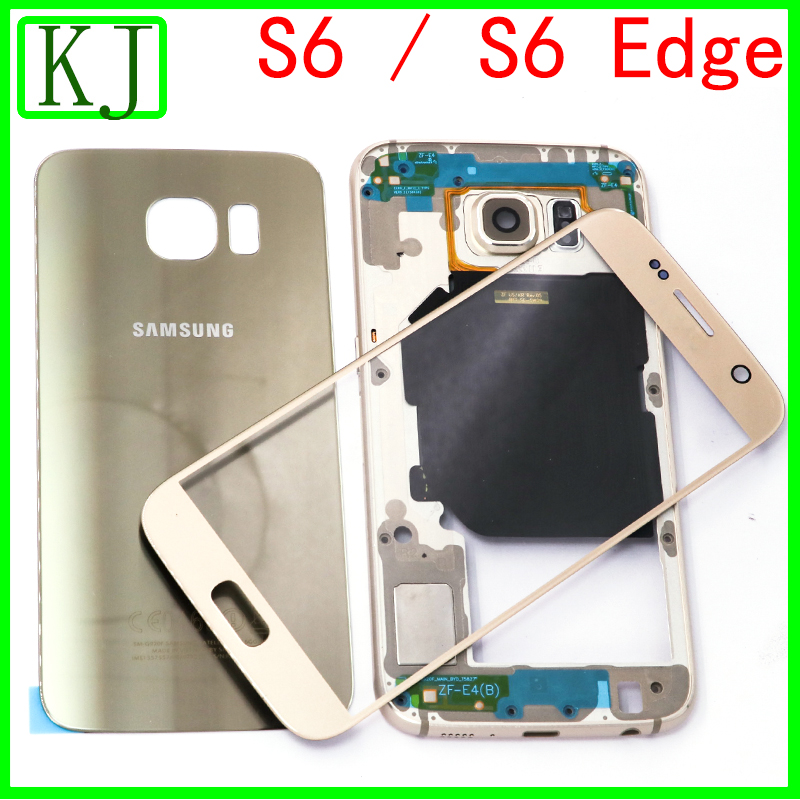 Full Housing Case For Samsung Galaxy S6 G920 / S6 Edge G925 Battery Cover Back Door+Middle Frame Board+Front Touch Glass Lens