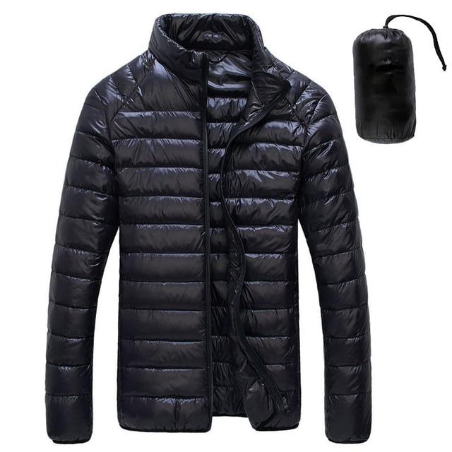 Chaqueta de plumas de pato blanco para hombre, Parkas portátiles ultraligeras, abrigo informal cálido a prueba de viento, prendas de vestir, 5XL, 6XL, 2020