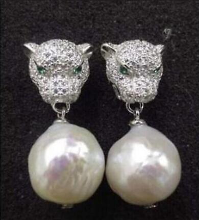 Livraison gratuite 11-12mm élégant joli naturel mer du sud blanc perle boucles d'oreilles argent