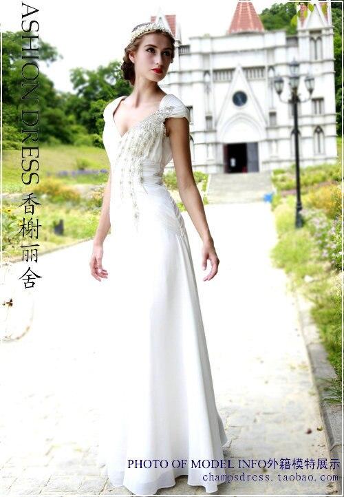 Livraison gratuite 2014 nouveau mode vestidos robe de soirée formales blanc à manches longues perles en mousseline de soie robe de soirée robe de soirée