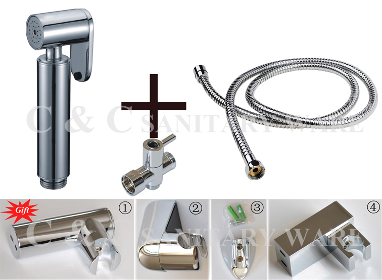 Free Shipping Brass Shattaf Bidet + T-adapter + Hose + Holder Toliet Shower Wall Mounted Chrome A2011ST