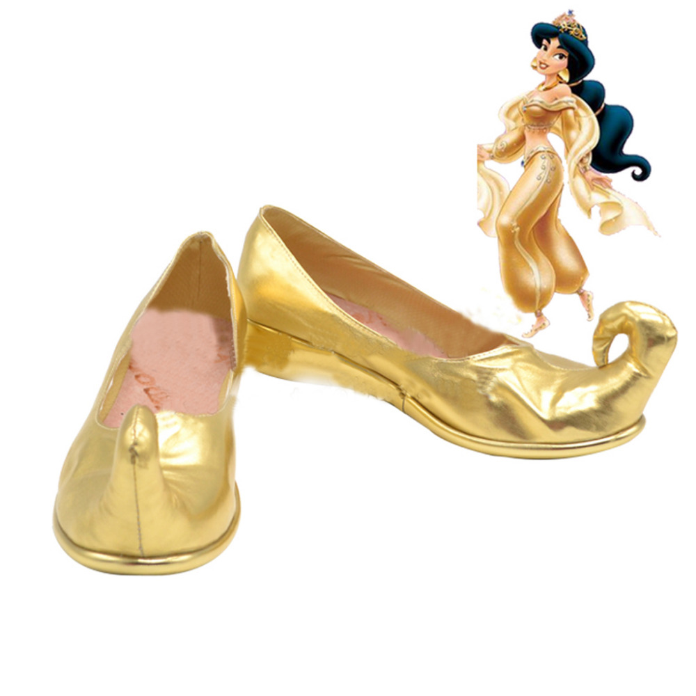 Aladdin Jasmine Cosplay Shoes Golden Boots Halloween Carnival Cosplay Costume Accessories For Women
