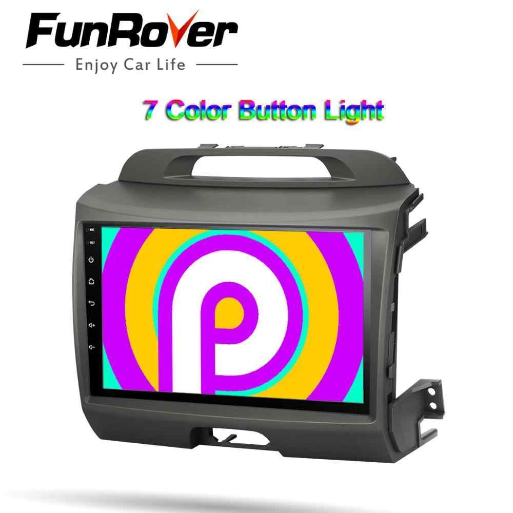 FUNROVER 2.5D + IPS android 9,0 2 din car dvd radio gps de coche reproductor Multimedia para KIA Sportage navegación Unidad Principal grabadora de cinta