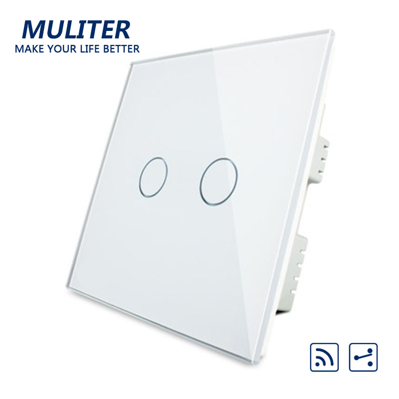 UK Standard Crystal Glass Panel Smart Touch Wall Light Switch 2 Gang 2 Way Wireless Remote Control Light Switch new arrivals remote touch wall switch uk standard 1 gang 1way rf control light crystal glass panel china