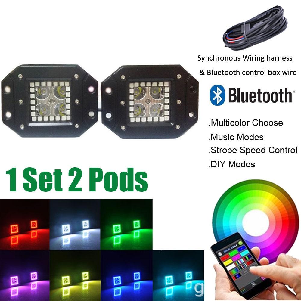 Paquete 2 16 w montaje empotrado LED trabajo luz bar inundación del punto  cubo pods con RGB halo anillo multicolor cambiante bluetooth y kits de  cableado 8a81ab362f661