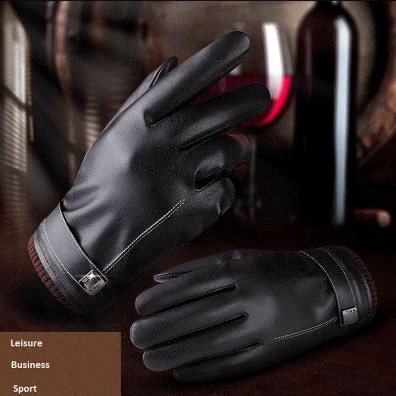 7314562d92808 2017 Warm Winter Men Women Gloves Washed Leather Black Leather ...