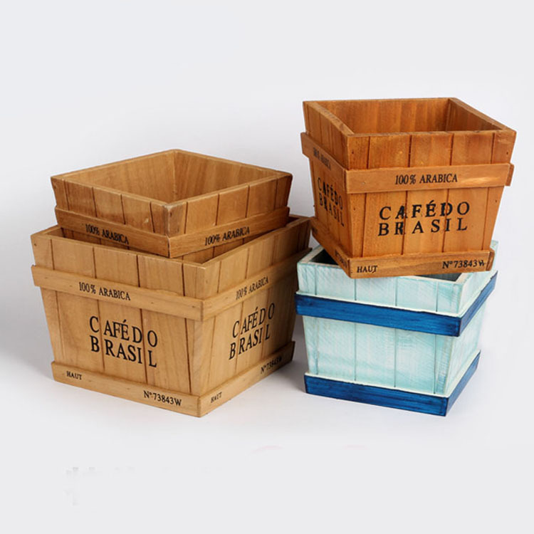 3 цвета Ретро деревянный ящик для хранения суккулентов цветы в горшочке ...