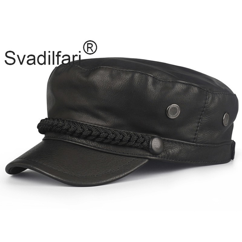 Mens Genuine Leather Military Cadet Cap Rider Style Patrol Castro Hats Navy Hat