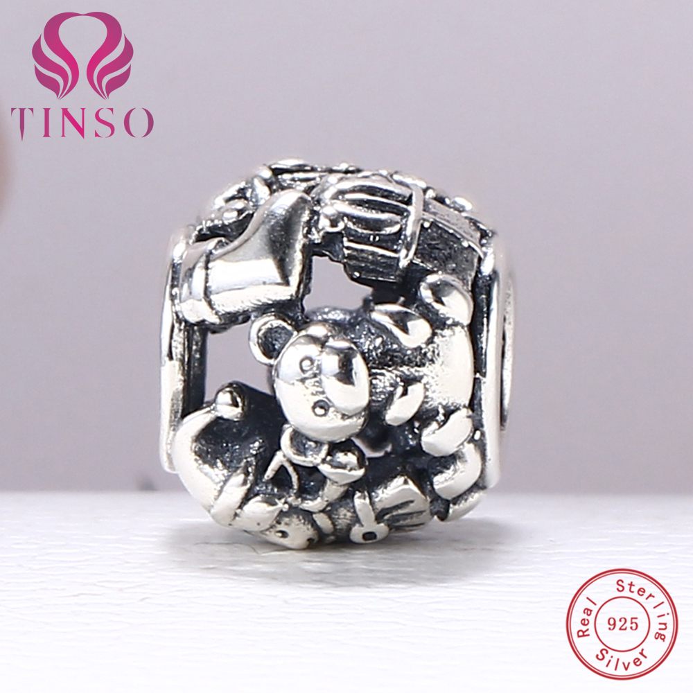 100% Authentic 925 Sterling Silver Lovely Bear Charm Beads Fit Pandora Charm Bracelet DIY Original Silver Fashion Jewelry
