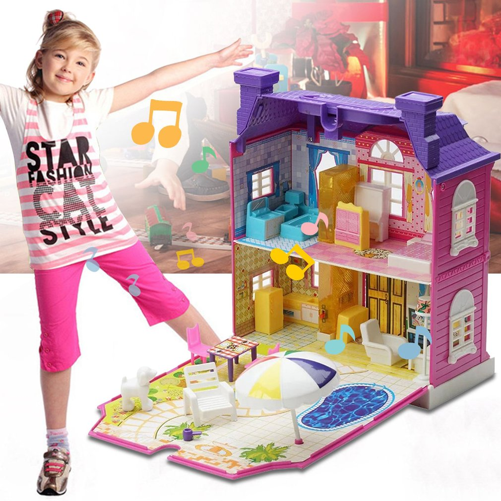 DIY Doll House With Furniture Miniature House Luxury Simulation Dollhouse Assembling Toys For Kids Children Birthday Gifts