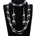 Высокое качество серебряных ювелирных изделий комплект, Мода серебряный бусины ювелирных украшений ожерелье , браслет + + серьги женщины
