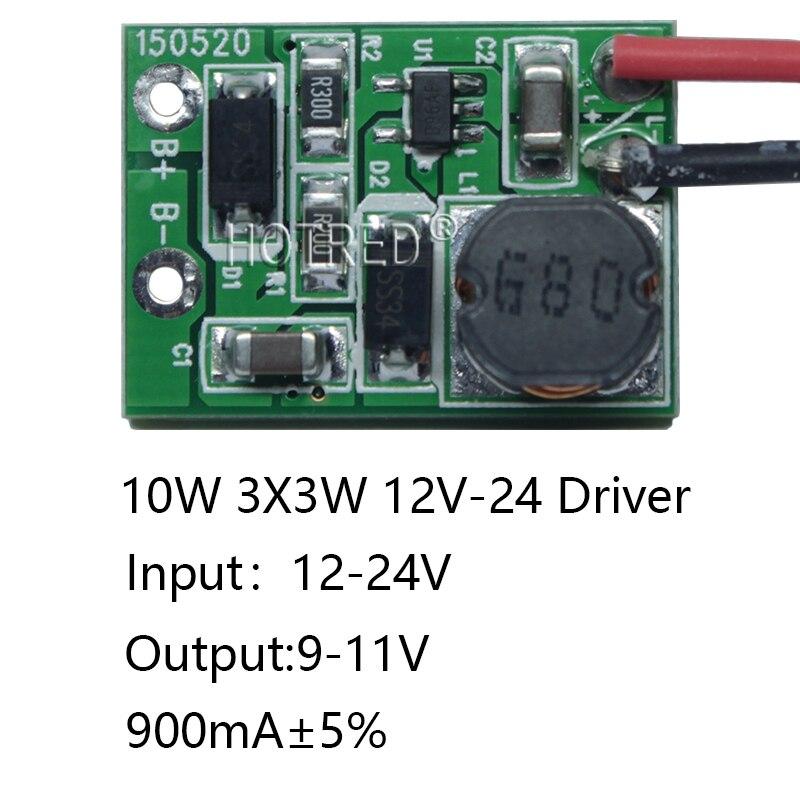 1 pces de alta qualidade 12 v 24 v 10w led driver para 3x3 w 9-11 v 900ma alta potência 10w led chip transformador