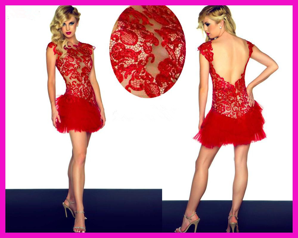 Backless Red Lace Cocktail Dress