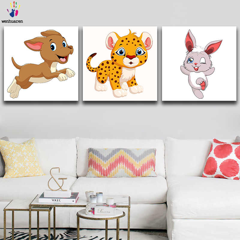 DIY colorings pictures by numbers with colors Cartoon little animal picture drawing painting by numbers framed Home