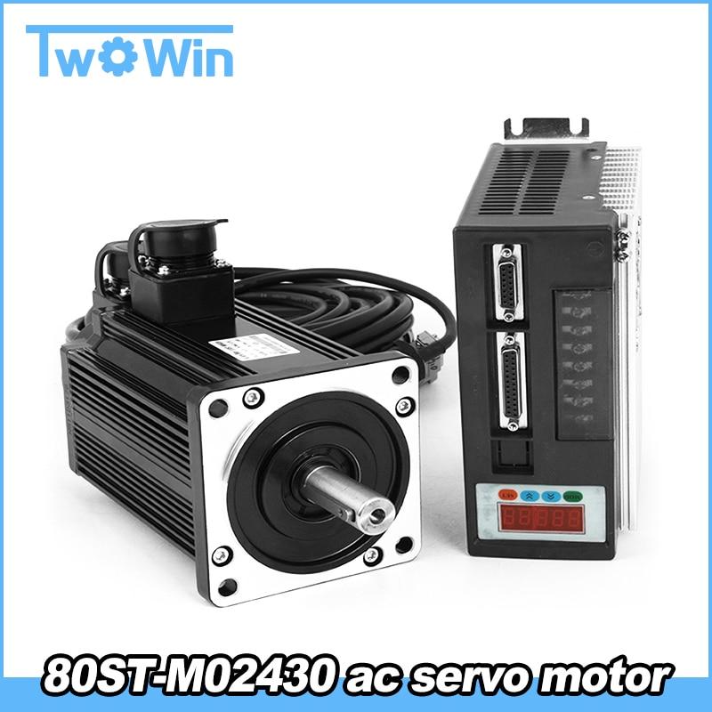 750W 3A AC Servo Motor 3000RPM Single Phase 80ST M02430 AC Servo Motor Servo Motor Driver