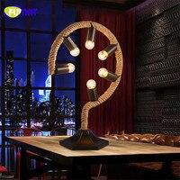 Фумат Американский Настольная лампа для Спальня ночники Винтаж стол Abajur Luminaria Nordic Ретро Настольная лампа из бечёвки