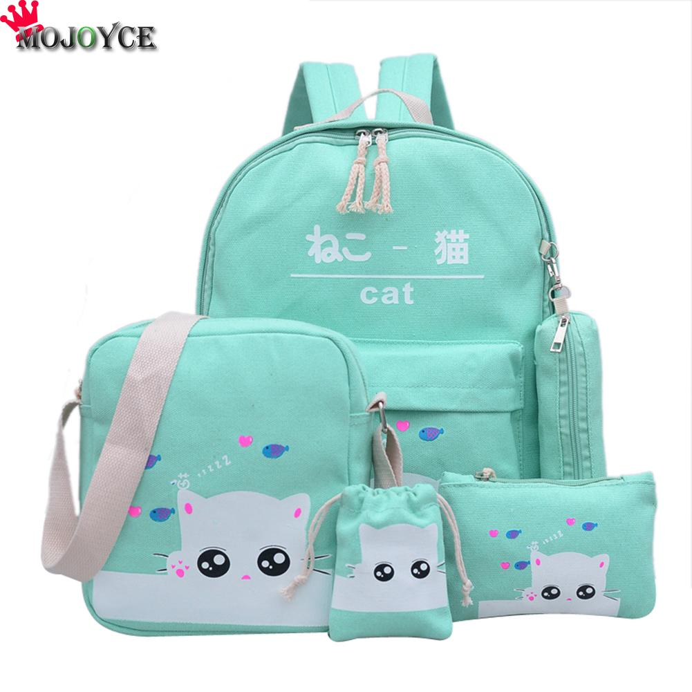 Women Backpack Cat Printing Canvas School Bags For Teenager Girls Preppy Style 4 Set/PC Rucksack Cute Book Bag Mochila Feminina 2pcs set preppy style canvas backpack women letter printing backpacks school bags for teenager girls schoolbag female travel bag