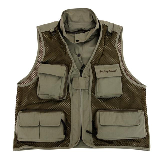 2017 New Men Breathable design Vests Denim Sleeveless Jacket Vest With Many Pocket plus Size ArmyGreen color