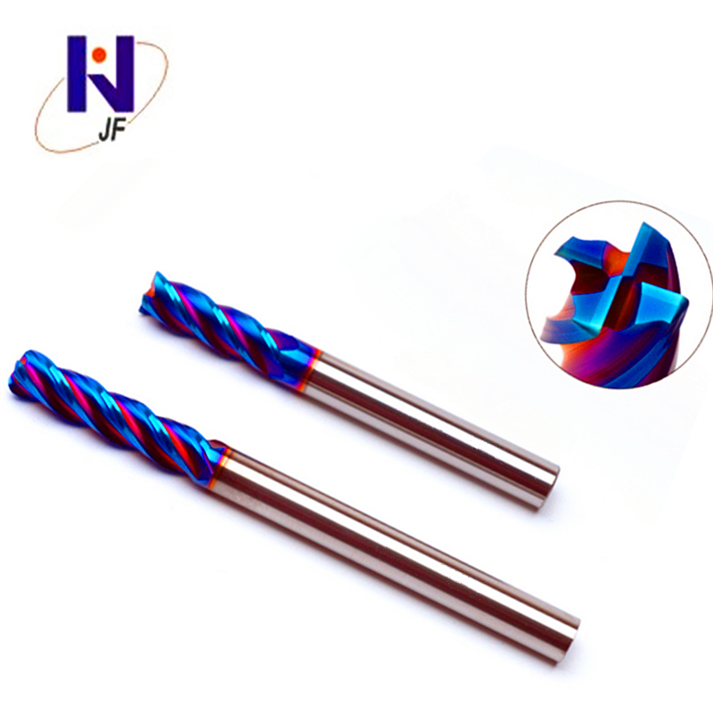 GEK HRC60 3R0.5*8*D3*50*4F Solid Carbide 4 Flute Corner Radius End Mills HRC60 Blue NaCo To Cut Hard Material